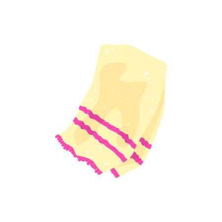 핑크 줄무늬가있는 비치 테리 타올 일러스트