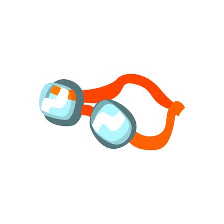 オレンジのクラスプ付き漫画スイミングゴーグル  イラスト・ベクター素材
