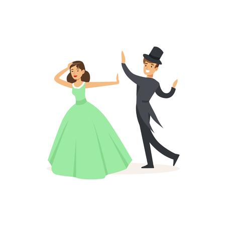劇場パフォーマンスをダンスで俳優を再生します。  イラスト・ベクター素材