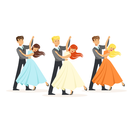 Couples of professional ballroom dancers Illustration