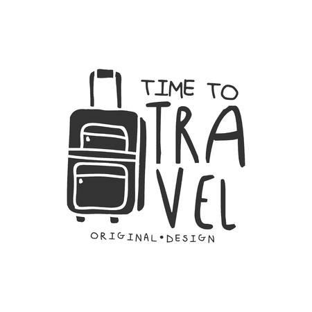 Time to travel logo with traveler luggage