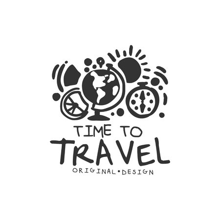 Time to travel logo with globe and compass