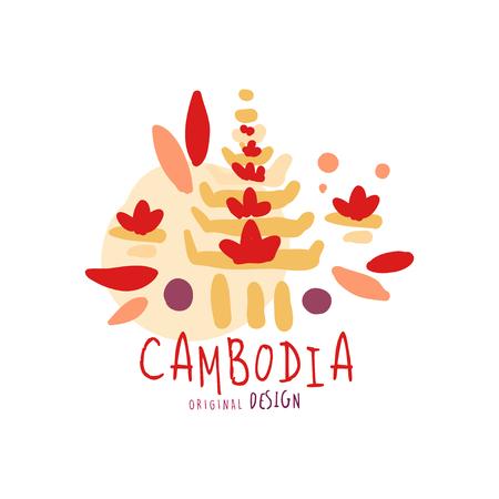 Travel to Cambodia logo design Illustration