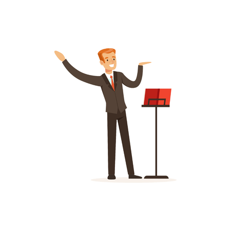 Orchestra conductor directing musical performance Illustration