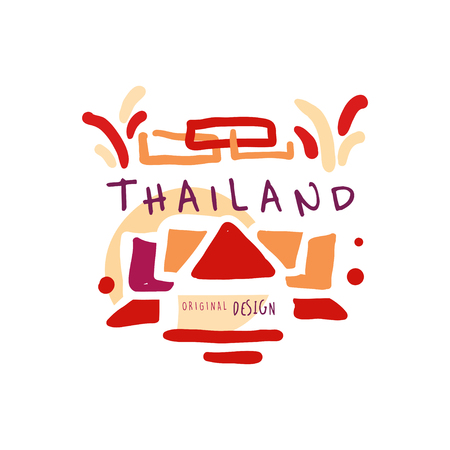 Time to travel to Thailand, travel agency logo Illustration