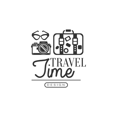 Tour operator label with traveler accessories