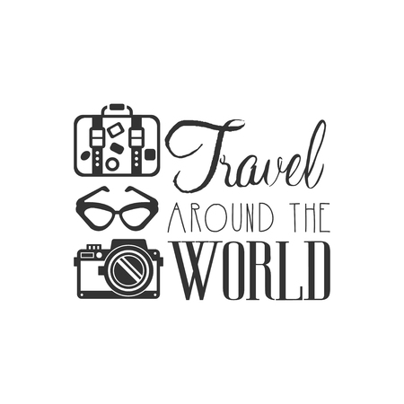 Travel around the world logo with traveler accessories