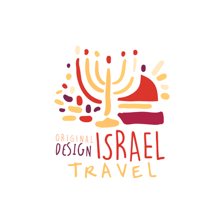 Travel to Israel logo with Hanukkah candles Illustration