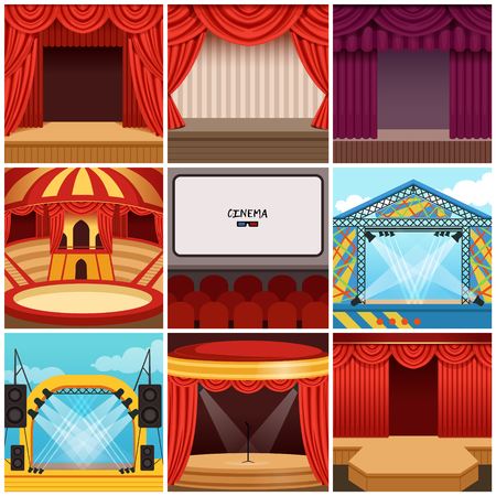 Different colorful cartoon stages set