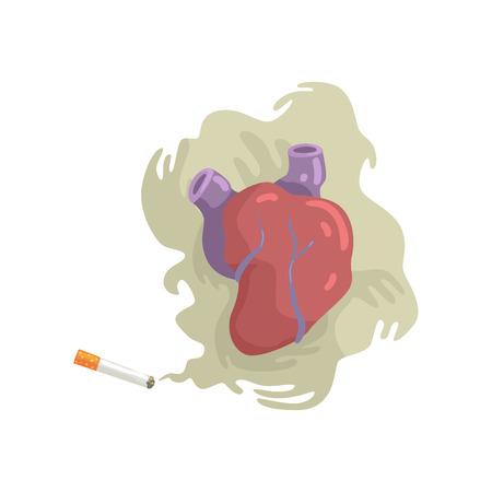 Cigarette smoke and heart, bad habit, dangers of smoking, nicotine addiction cartoon vector Illustration