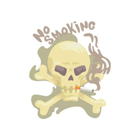 두개골과 뼈, 나쁜 습관, 니코틴 중독 만화 벡터 일러스트와 금연 흔적 일러스트