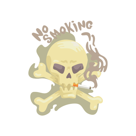 No smoking sign with skull and bones, bad habit, nicotine addiction cartoon vector Illustration Stock fotó - 88339386