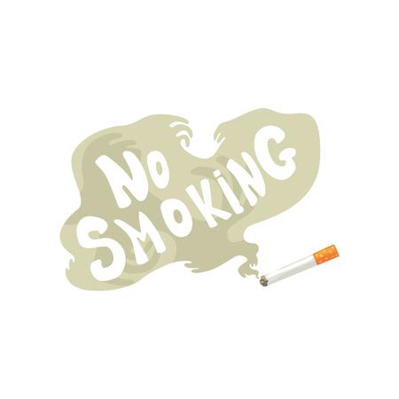 Brandende sigaret met rook en Nr - rokende inschrijving, slechte gewoonte, de illustratie van de nicotineverslaving beeldverhaal vectorillustratie