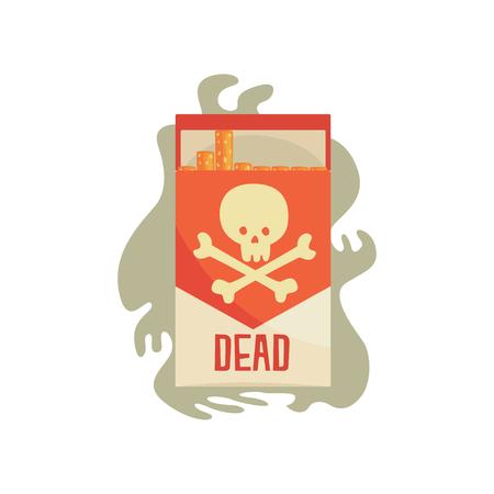 Red pack of cigarettes with skull, bad habit, nicotine addiction cartoon vector Illustration Illustration