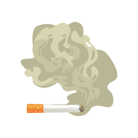 Burning cigarette with smoke, bad habit, nicotine addiction cartoon vector Illustration