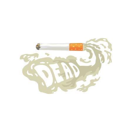 Burning cigarette with smoke and Dead inscription, bad habit, nicotine addiction cartoon vector Illustration Illustration