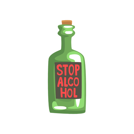 Stop alcohol bottle, bad habit, alcohol addiction cartoon vector Illustration