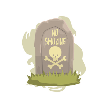 Tombstone with skull and bones and No smoking inscription bad habit, dangers of smoking, nicotine addiction cartoon vector Illustration