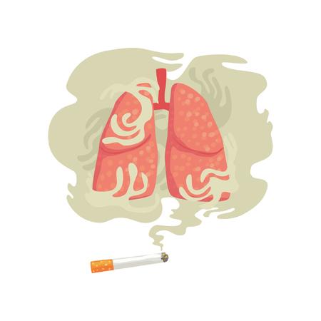 Zigarettenrauch und Lungen, schlechte Gewohnheit, Gefahren des Rauchens, Nikotinsuchtkarikatur-Vektor Illustration