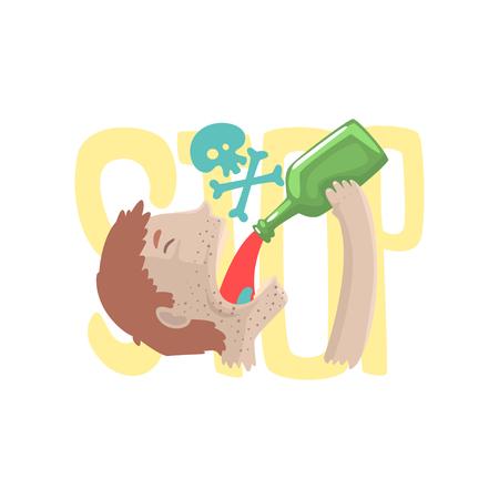 Stop alcohol, bad habit, alcoholism concept cartoon vector Illustration Illustration
