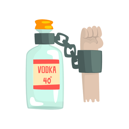 Bottle of vodka with shackles, bad habit, alcoholism concept cartoon vector Illustration Иллюстрация