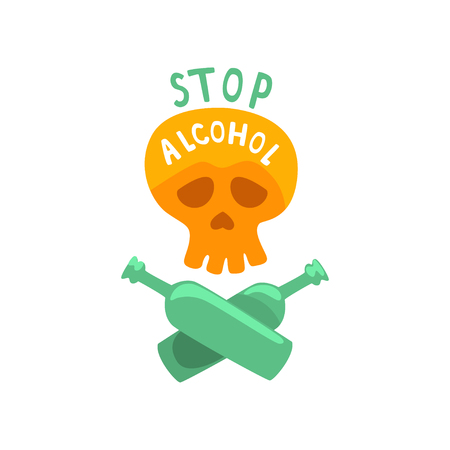 Stop alcohol, bad habit, alcoholism concept with a skull and crossed bottles cartoon vector Illustration