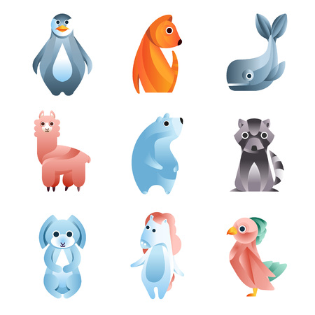 Animals in a geometric flat style with the use of gradients and smooth shapes set of colorful vector Illustrations Illustration