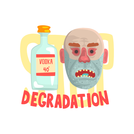 Alcohol degradation, bad habit, alcoholism concept with a bottle of vodka and face of a drunk man cartoon vector Illustration