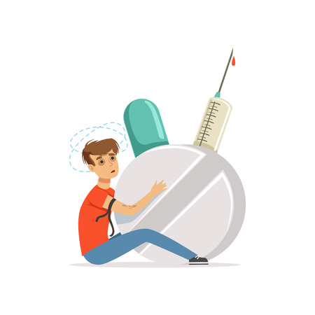 Drug addicted man with giant syringe and pill vector Illustration