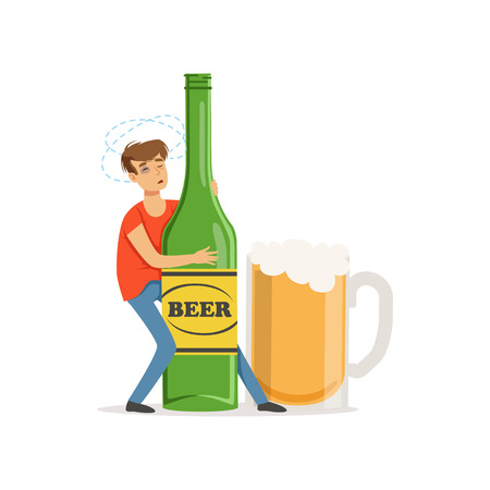 Young man holding oversized bottle of beer, alcohol addiction, bad habit vector Illustration