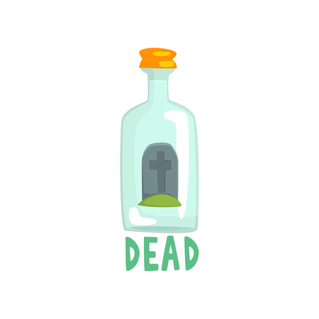 Tombstone on the bottom of giant alcohol bottle, bad habit, alcoholism concept cartoon vector Illustration Иллюстрация