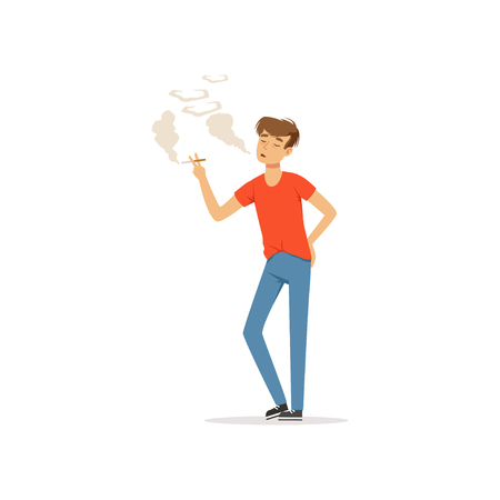 Young man smoking a cigarette, nicotine addiction, bad habit vector Illustration Иллюстрация
