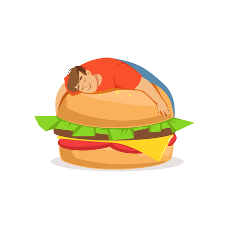 bun: Fat obese man sleeping on a giant burger, bad habit vector Illustration