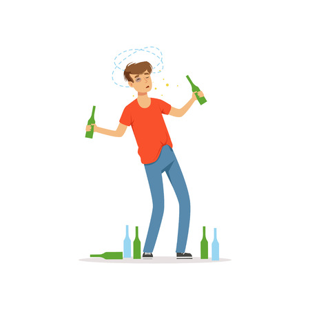 Drunk man standing among empty bottles on the floor, alcohol addiction, bad habit vector Illustration