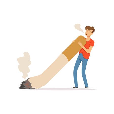 Jonge mens die een reuzesigaret, nicotineverslaving, slechte gewoonte vectorillustratie roken