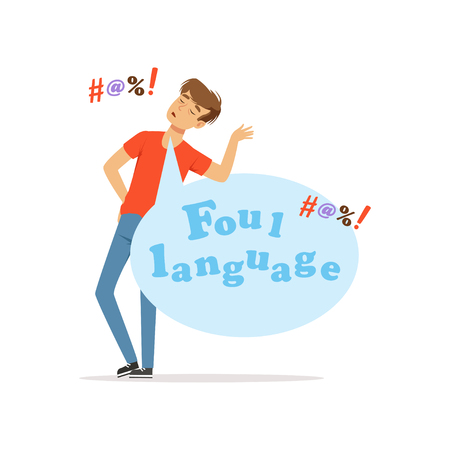 Foul language, man swearing, bad habit vector Illustration