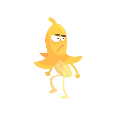 Cute angry banana, cartoon funny fruit character vector Illustration Illustration
