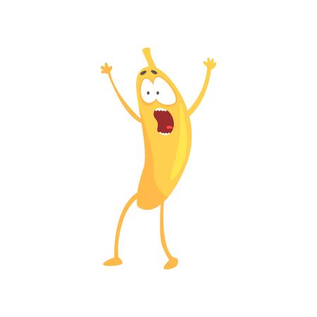 Plátano asustado divertido, vector de personaje de fruta de dibujos animados Foto de archivo - 88339329