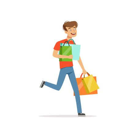 Crazy man with paper shopping bags, shopaholic man bad habit vector Illustration Çizim