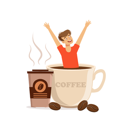 Young man sitting in oversized cup of coffee, caffeine addiction, bad habit vector Illustration Illustration