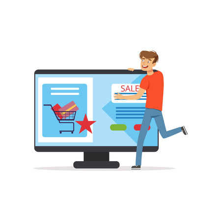 Crazy man with giant computer, online shopping, shopaholic man vector Illustration Çizim