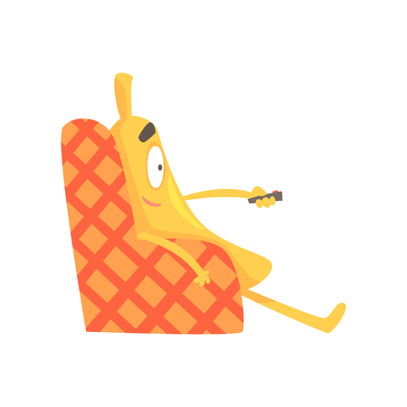 Cute funny banana sitting on armchair and watching TV, cartoon fruit character vector Illustration Ilustrace