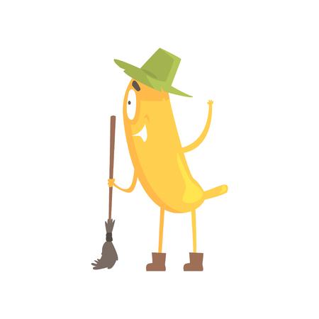 banana skin: Cute funny banana in green hat holding broom, cartoon funny fruit character vector Illustration Illustration