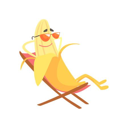 長椅子に座っていると、その残りの部分、面白いフルーツの漫画のキャラクターを楽しんで幸せなバナナ ベクトル イラスト