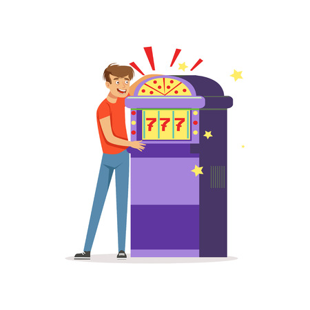 Crazy depressed man gambling at slot machine, bad habit, gambling addiction vector Illustration