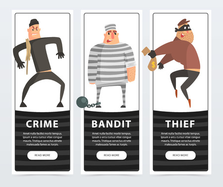 Crime, bandit, thief, criminal and convict banners cartoon vector elements for website or mobile app Ilustração