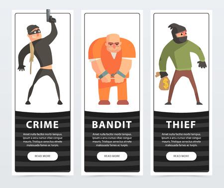 Crime, bandit, thief, criminal and convict banners cartoon vector elements for website or mobile app Ilustração