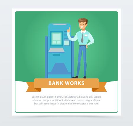 Beratermanagermann, der nahe bei ATM, Bank arbeitet Fahne für Werbungsbroschüre, förderndes Broschürenplakat, flaches Vektorelement der Darstellung für Website oder bewegliche APP Standard-Bild - 88393926