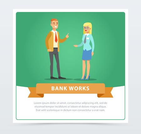 Clients consulting at manager, bank works banner for advertising brochure, promotional leaflet poster, presentation flat vector element for website or mobile app