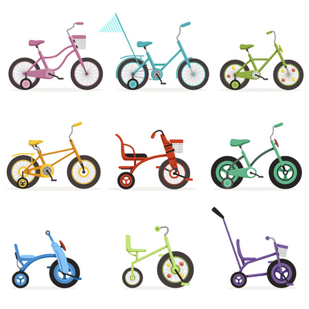 Various type of kids bikes set, colorful bicycles with different frame types vector Illustrations Illustration